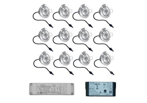Set 12x3 Watt dimmbarer Lavanto LED Einbaustrahler IP44 mit Somfy IO Empfänger