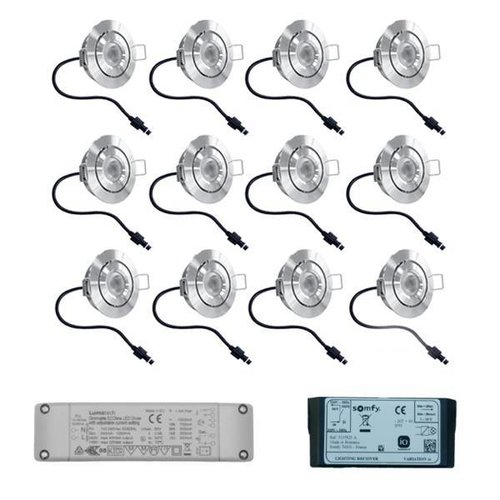 Complete set 12 stuks dimbare Somfy IO LED inbouwspots 3W IP65