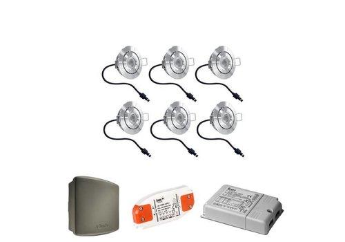Complete set 6 stuks dimbare veranda LED inbouwspots Lavanto 3W IP44 met Somfy RTS ontvanger