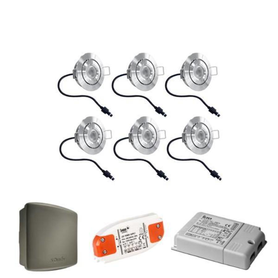 Komplettset Lavanto Cree LED-Terrassenbeleuchtung Einbaustrahler 6 x 3 Watt Somfy RTS Kippbar