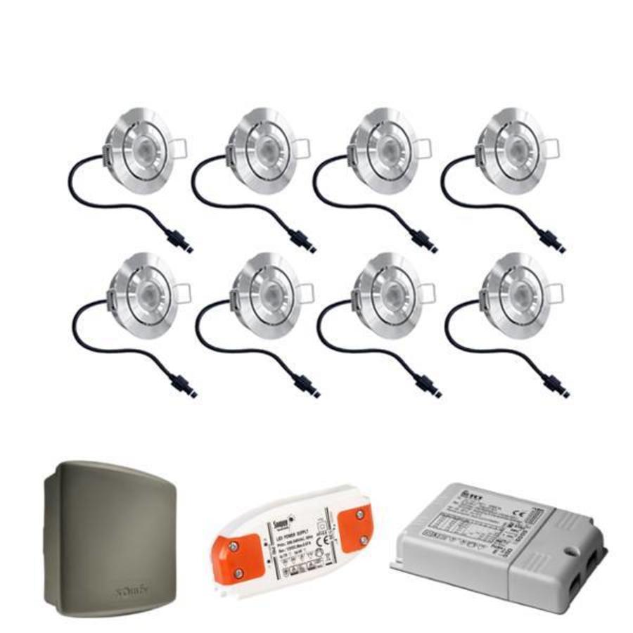 Complete set 8x3W dimbare veranda LED inbouwspots Lavanto 3W IP44 met Somfy RTS ontvanger