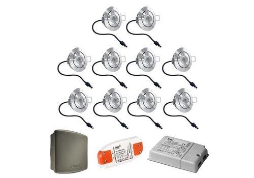 Complete set 10 stuks dimbare veranda LED inbouwspots Lavanto 3W IP44 met Somfy RTS ontvanger