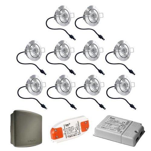INTOLED Komplett-Set 10x3W dimmbare Veranda LED Einbaustrahler Lavanto 3W IP44 mit Somfy RTS-Empfänger