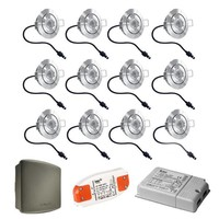 Komplett-Set 12 Stück dimmbare Veranda LED Einbaustrahler Lavanto 3W IP44 mit Somfy RTS-Empfänger