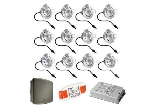 INTOLED Komplett-Set 12x3W dimmbare Veranda LED Einbaustrahler Lavanto IP44 mit Somfy RTS-Empfänger