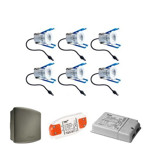 INTOLED Complete set 6x3W Milano LED dimmable porch lights IP65 including Somfy RTS receiver