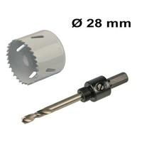 Bohrlochsäge Set Ø 28 mm Bi-Metall + Adapter mit Bohr