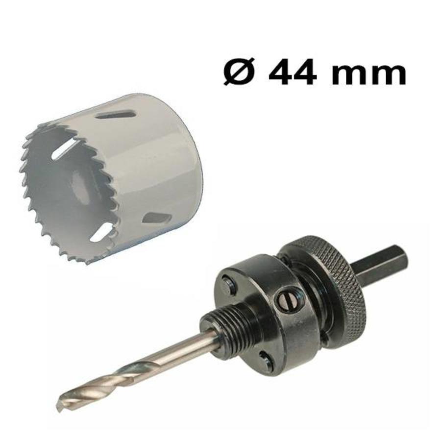 Bohrochsäge Set Ø 44 mm Bi-Metall + Adapter mit Bohr