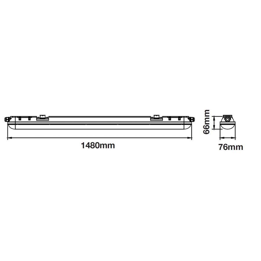 IP65 LED armatuur 150 cm 48W 4000lm 6000K daglicht wit