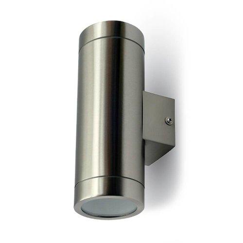 V-TAC Tweezijdig oplichtende wand buitenlamp geborsteld RVS geschikt voor GU10 spots IP44