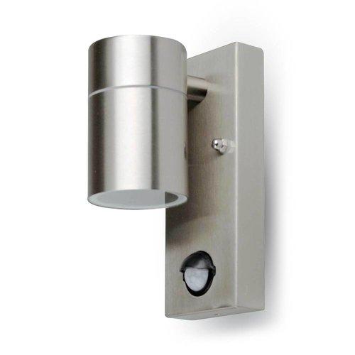 Edelstahle LED-Wand-Außenleuchte mit Sensor GU10 IP44