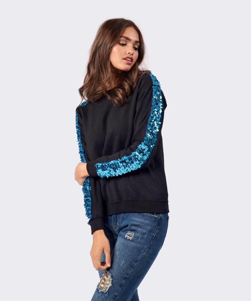 Basic L&M Sweater Black Big Blue - Lewis & Melly