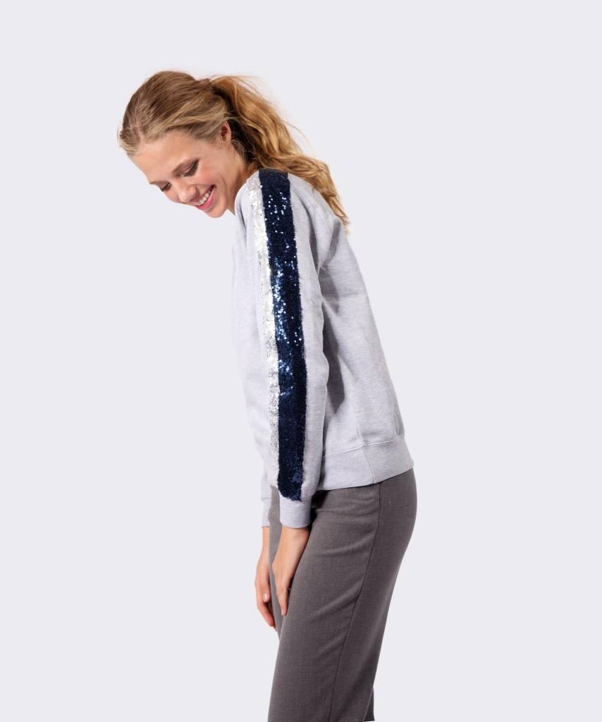 Basic L&M Sweater Grey Silver & Dark Blue - Lewis & Melly