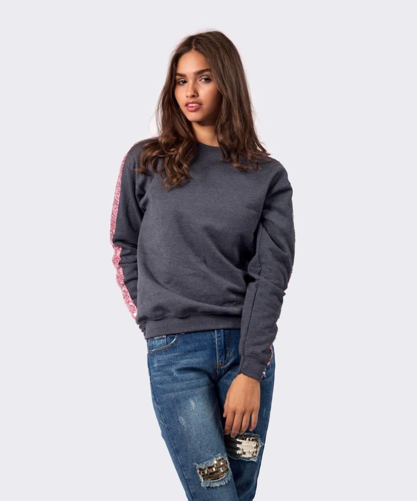 Basic L&M Sweater Dark Grey Pink - Lewis & Melly