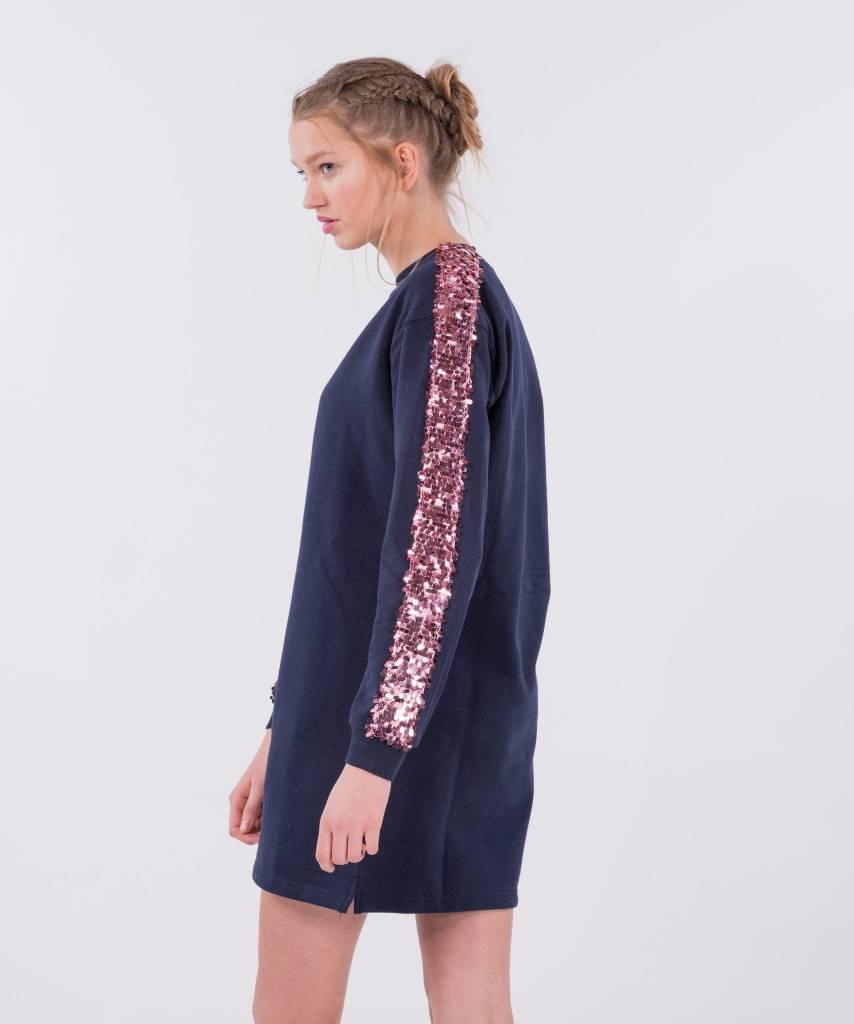 Sweater Dress Dark Blue Big Pink d5365e884