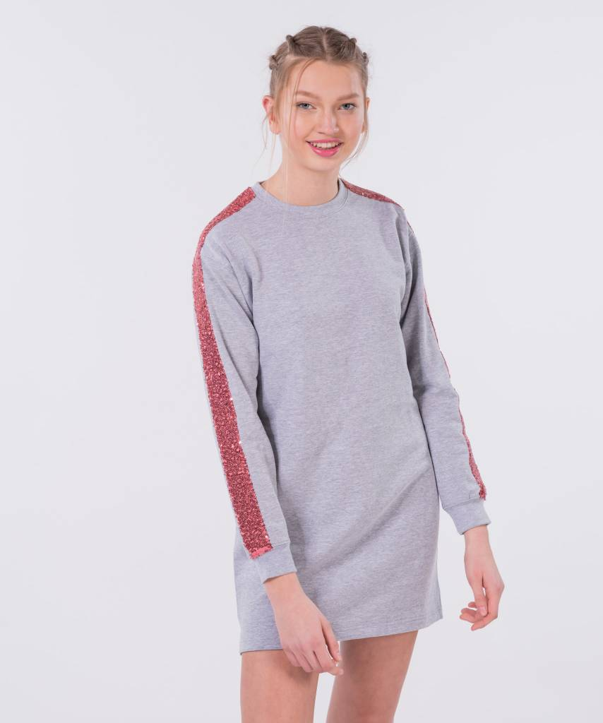 Sweater Dress Light Grey Pink - Lewis & Melly