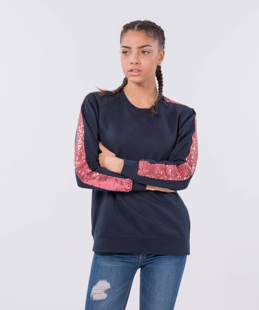 Basic L&M Sweater Dark Blue Old Pink - Lewis & Melly