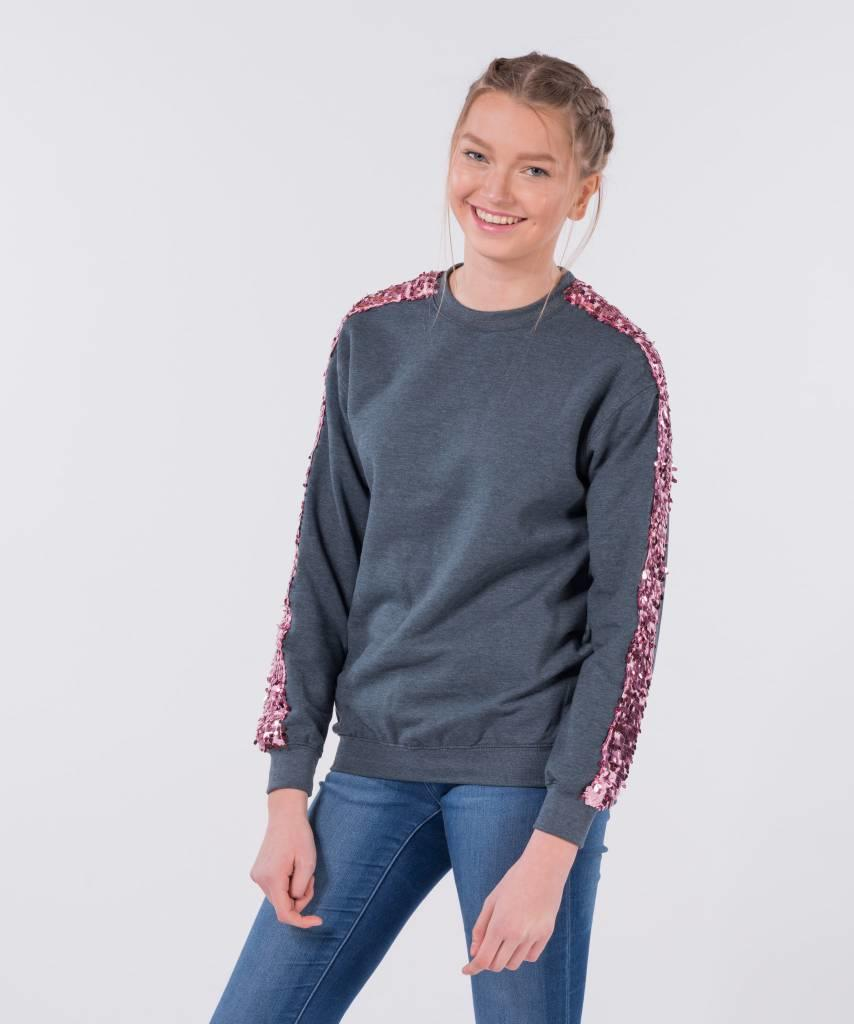 Basic L&M Sweater Dark Grey Big Pink - Lewis & Melly
