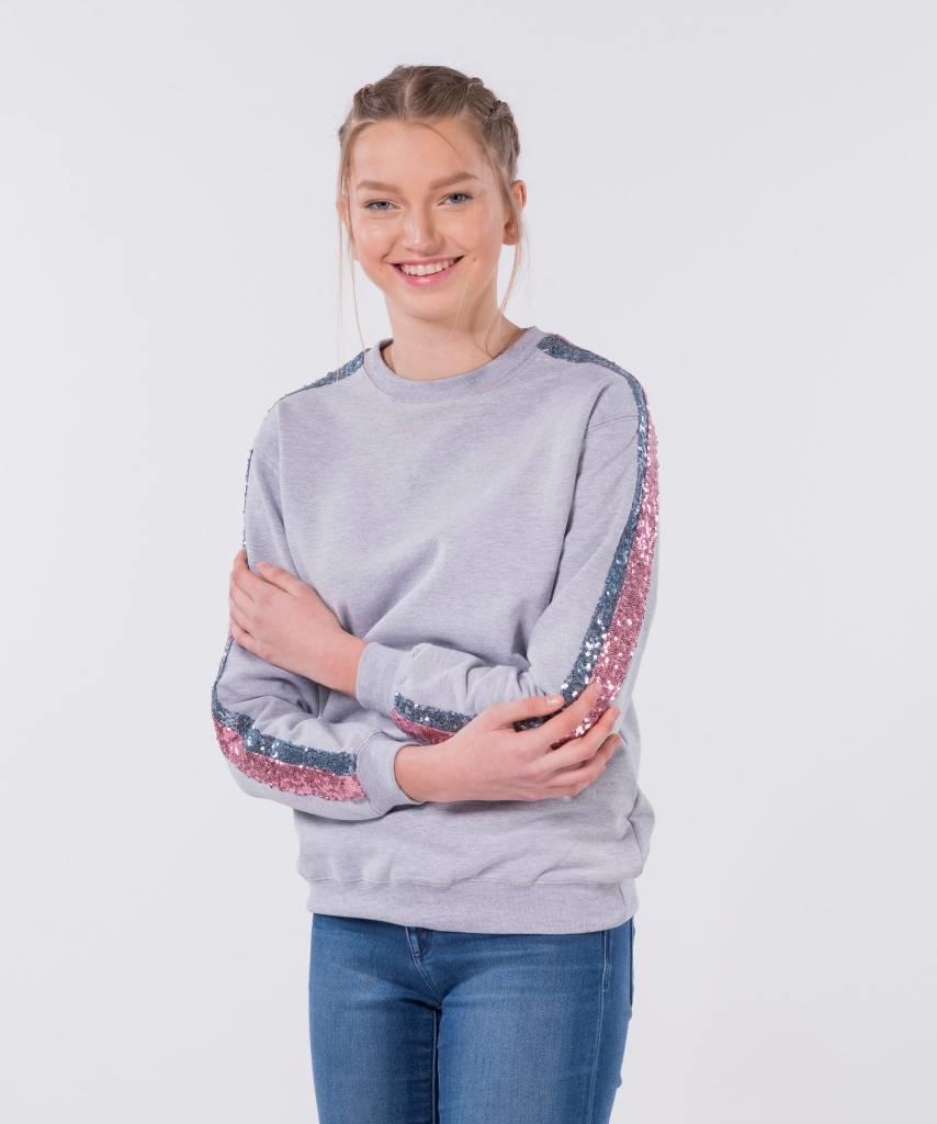 Basic L&M Sweater Grey Light Pink & Light Blue - Lewis & Melly