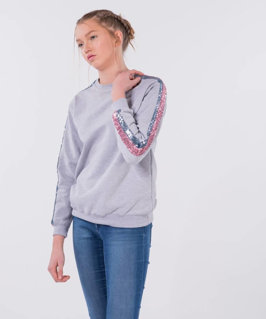Basic L&M Sweater Grey Light Pink & Light Blue - Lewis & Melly