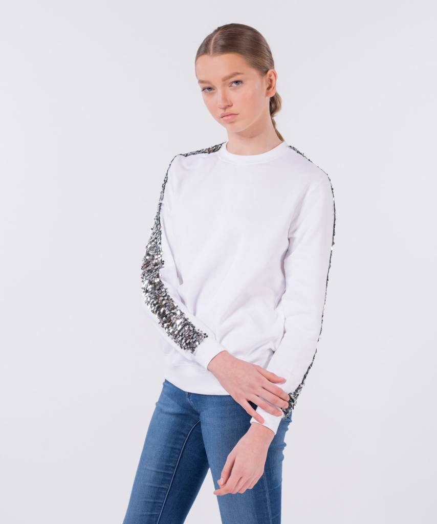 Basic L&M Sweater White Big Silver - Lewis & Melly