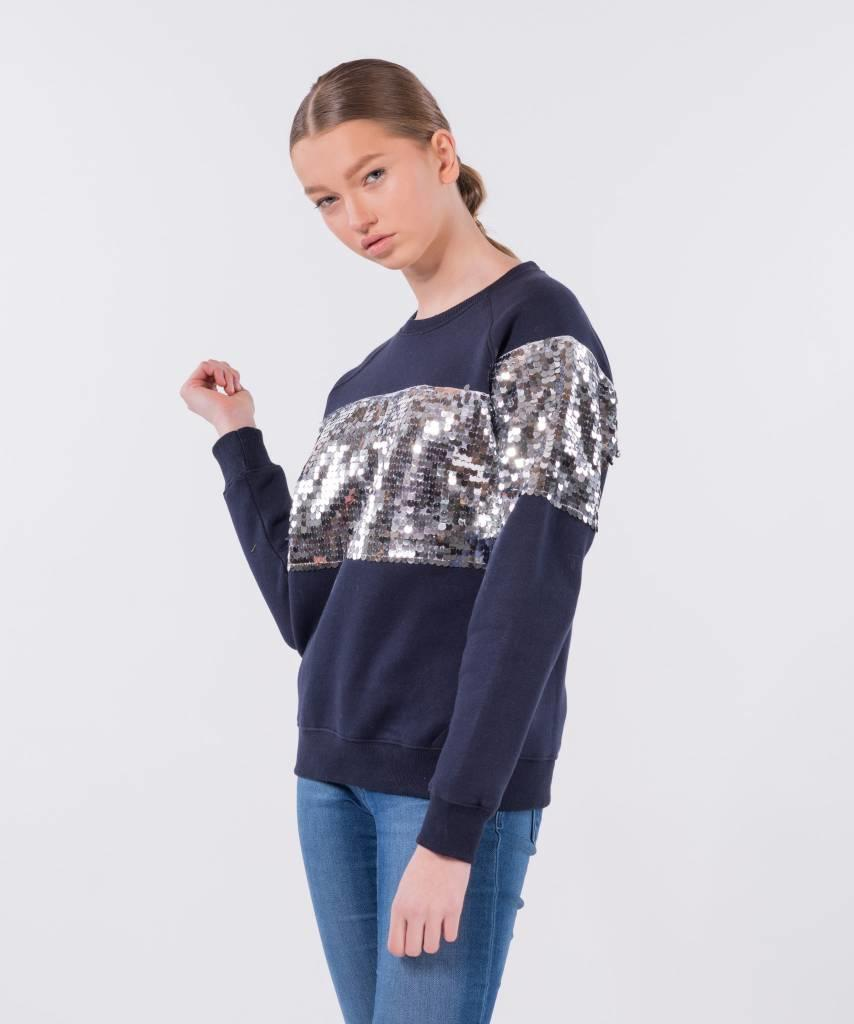 Sequin Sweater Dark Blue Silver - Lewis & Melly