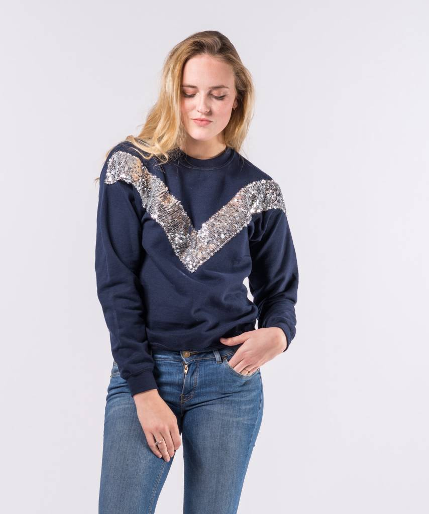 V Sweater Dark Blue Silver - Lewis & Melly