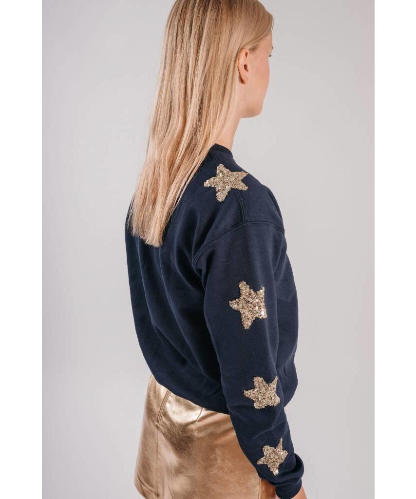 sweater dark blue gold stars lewis melly