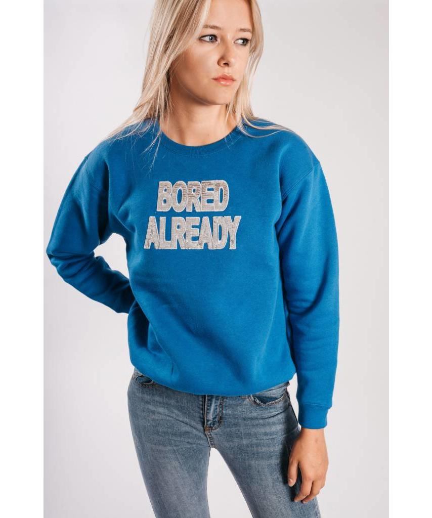 Sweater Bored Already Royal Blue Silver - Lewis & Melly