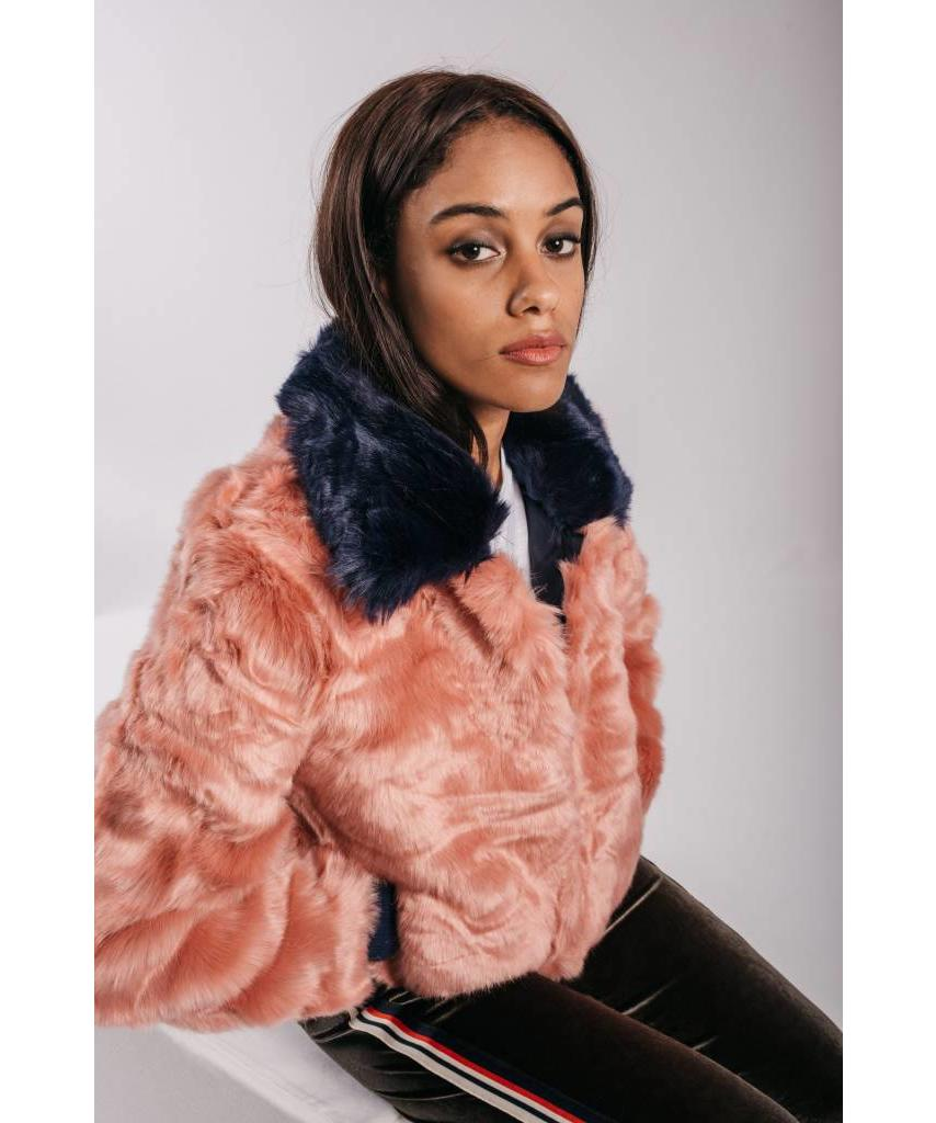 Faux Fur Bomber Jacket Pink - Lewis   Melly 12a189056