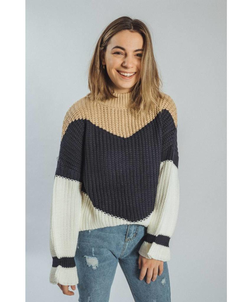 Knitted pullover beige/blue/white - Lewis & Melly