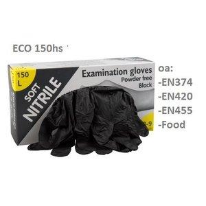 Eurogloves soft nitril zwarte handschoenen poedervrij 150 st