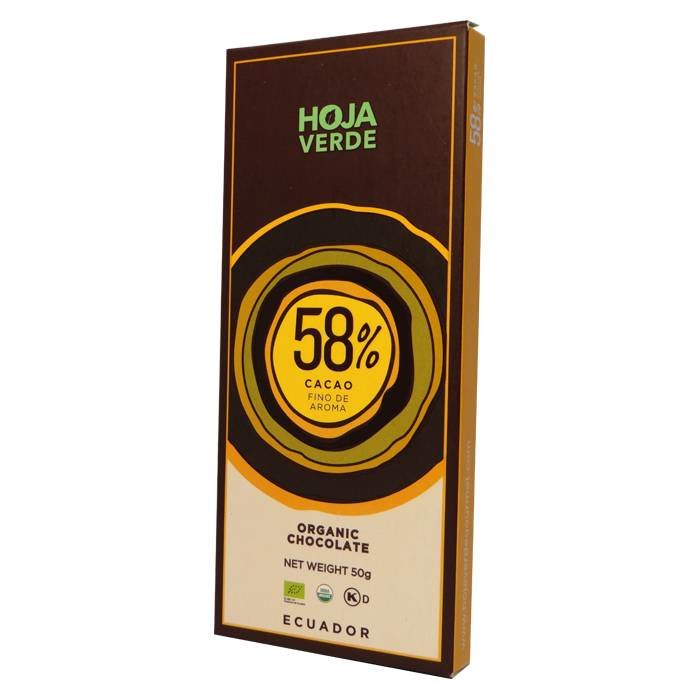 58% Pure chocolade, biologisch, Kosher, 50 g