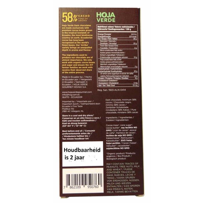 58% Pure chocolade, biologisch, Kosher, Ecuador, 50 g