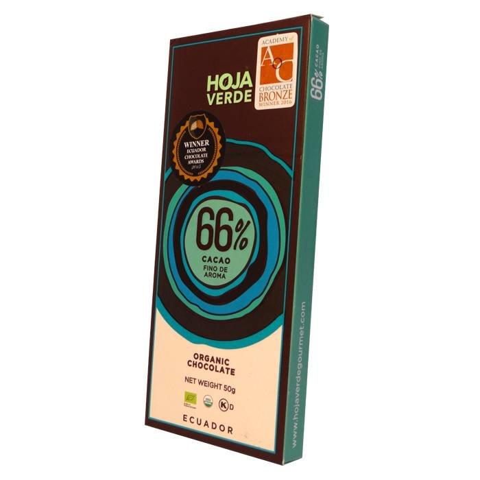 66% Pure chocolade, biologisch, Kosher, 50 g