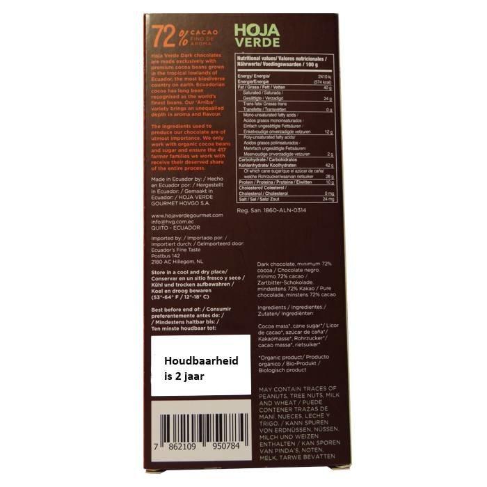 72% Pure chocolade, biologisch, Kosher, Ecuador, 50 g