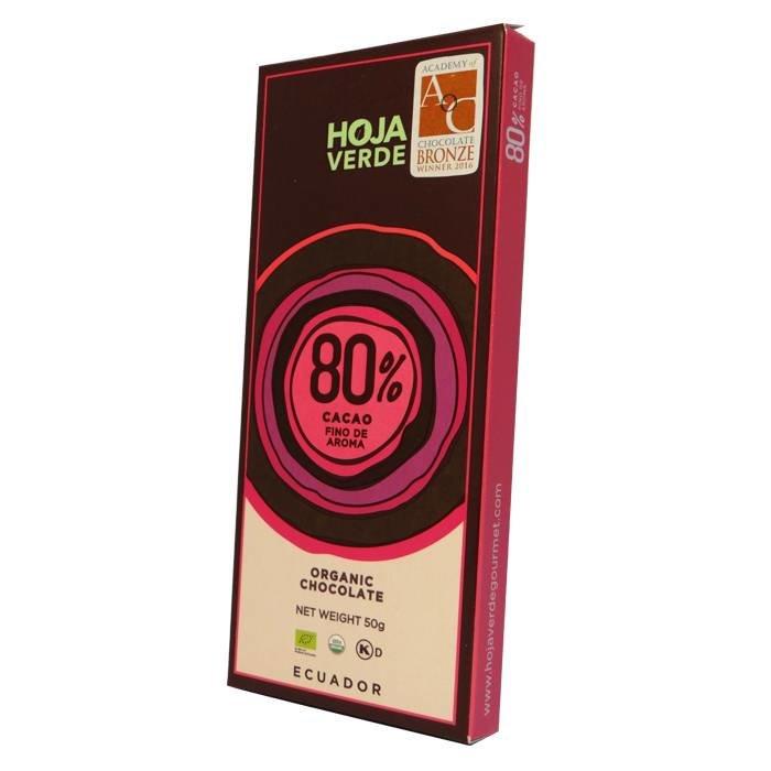 80% Pure chocolade, biologisch, Kosher, 50 g