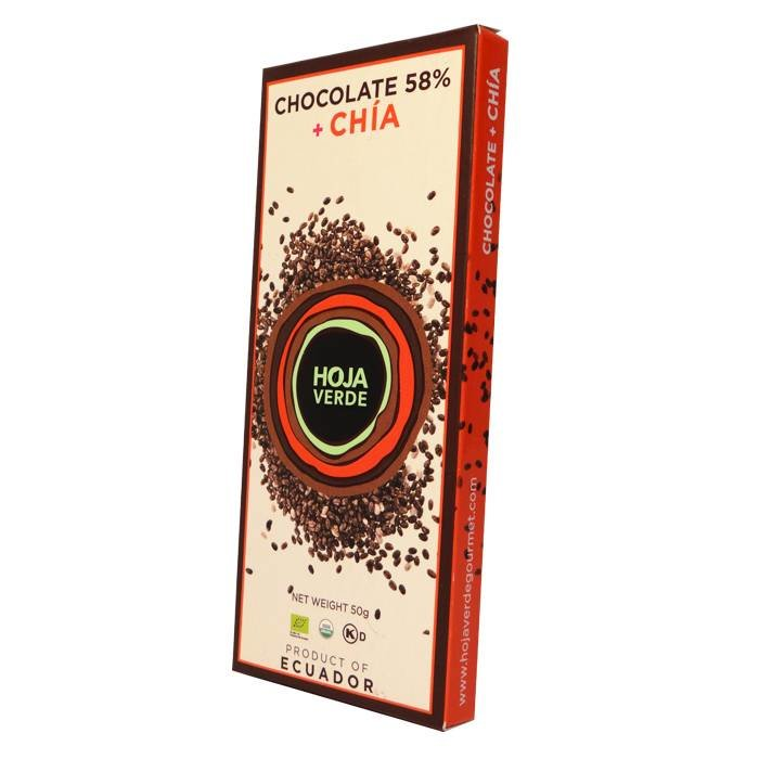 58% Pure chocolade met chia, biologisch, Kosher, 50 g