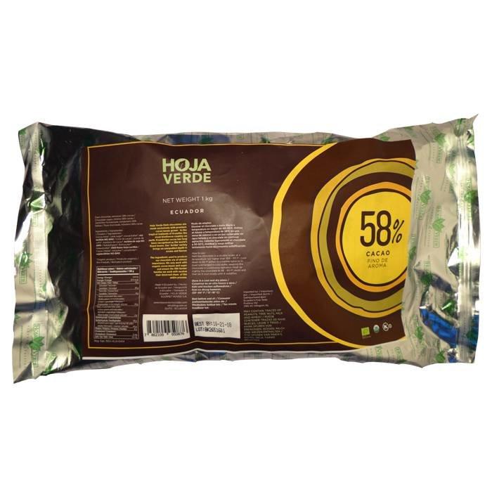 Couverture 58% pure chocolade, biologisch, Kosher, Ecuador, 1 kg