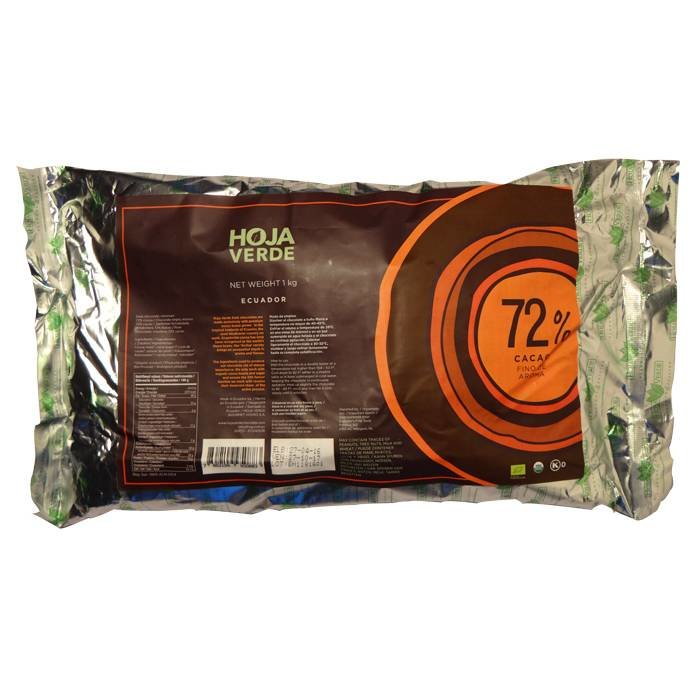 Couverture biologische 72% pure chocolade, 1 kg
