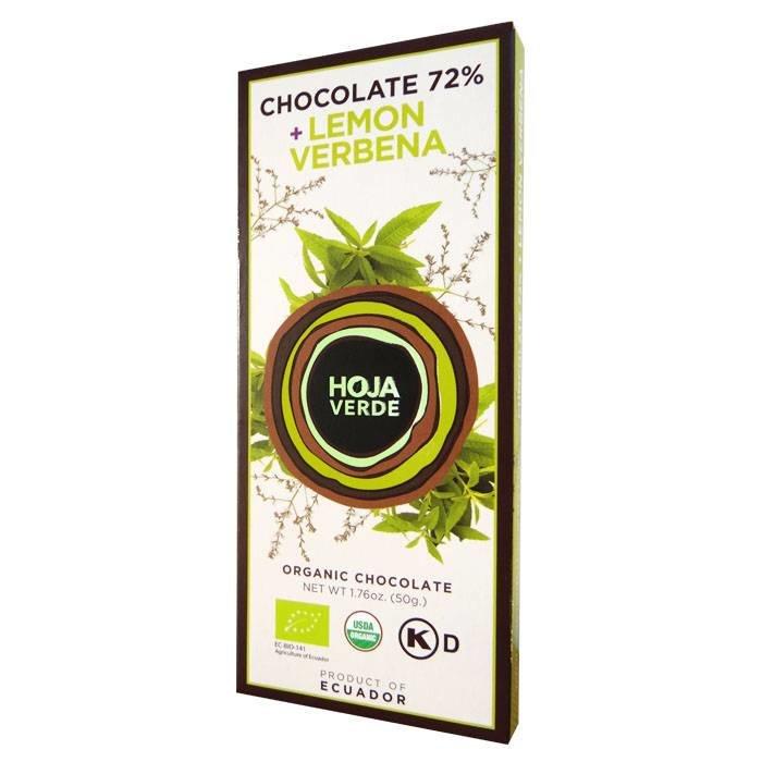 72% pure chocolade met citroenverbena, BIO, Kosher, Ecuador, 50 g