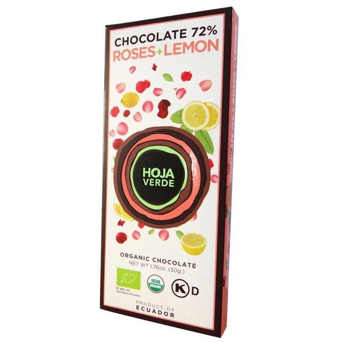 72% pure chocolade met roos en citroen, BIO, Kosher, Ecuador, 50 g