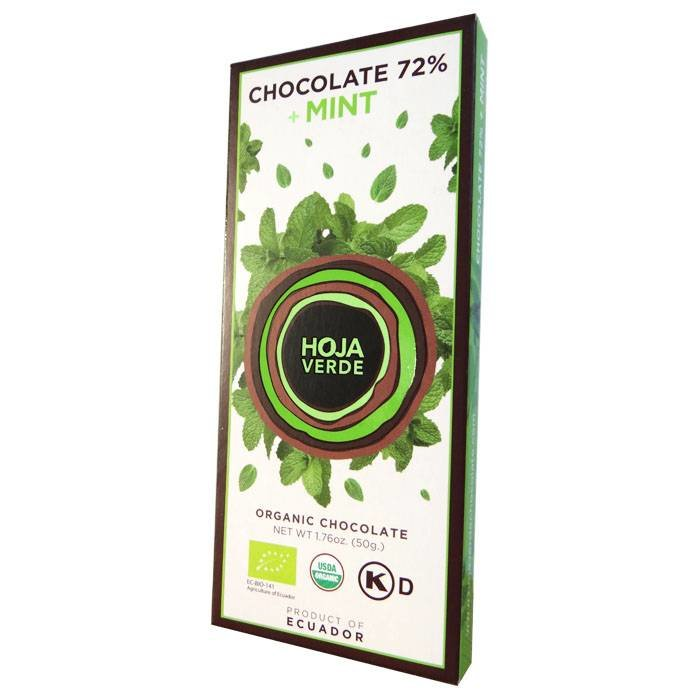 72% pure chocolade met munt, BIO, Kosher, Ecuador, 50 g