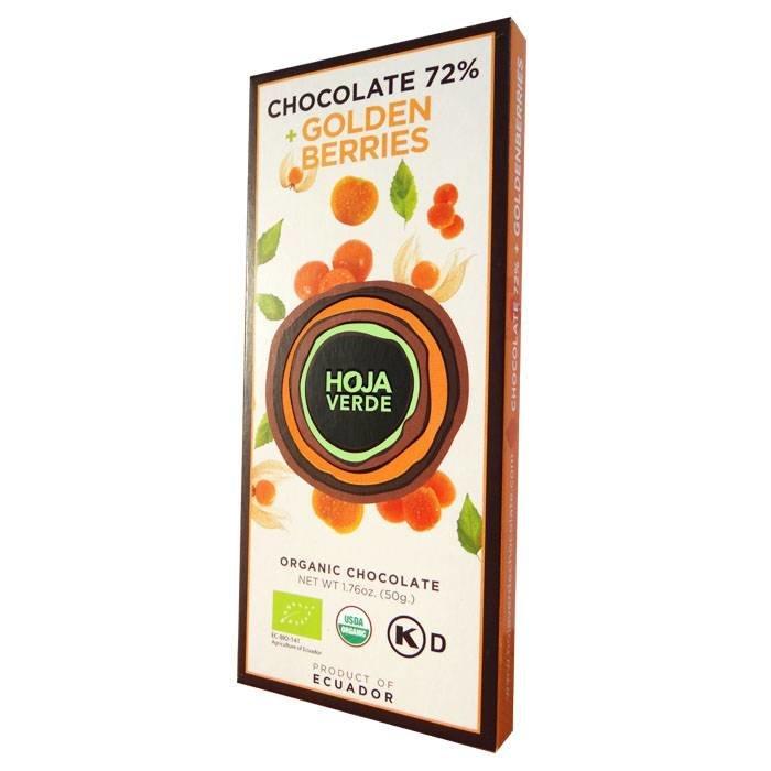 72% pure chocolade met goudbes, BIO, Kosher, Ecuador, 50 g