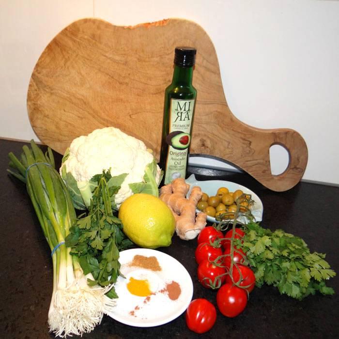 Bloemkool couscous met avocado olie