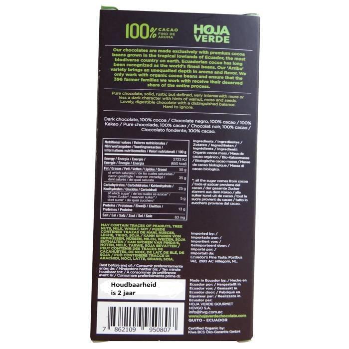100% Pure chocolade, BIO, Kosher, Ecuador, 50 g