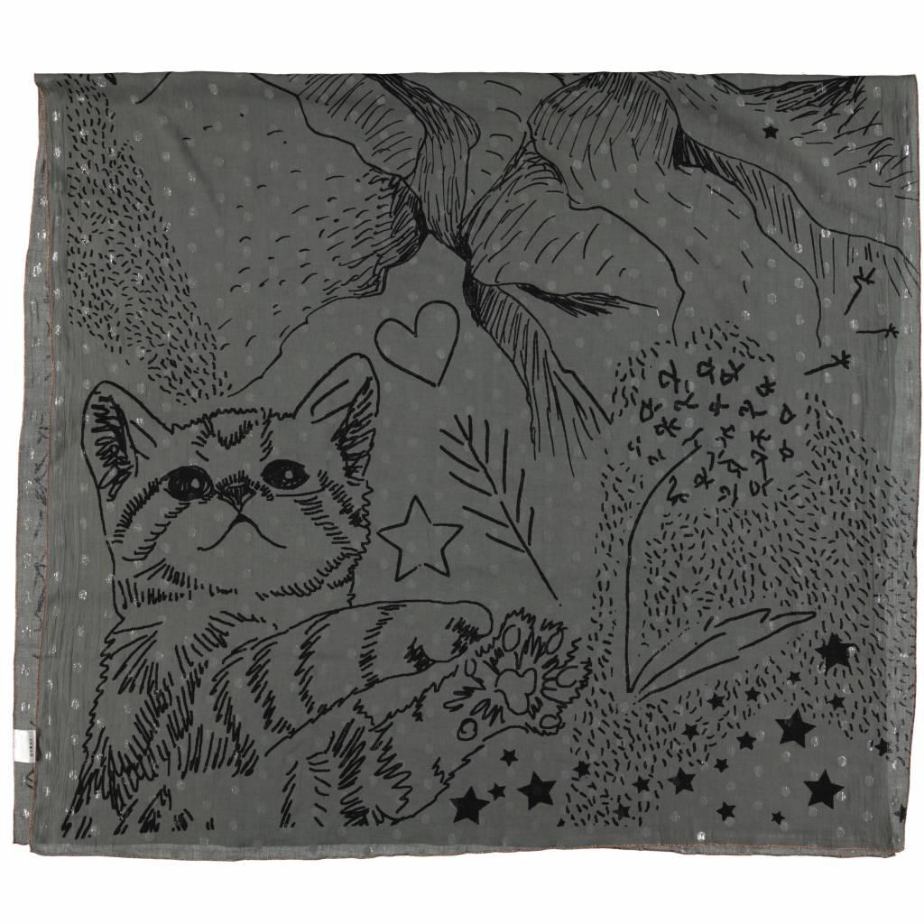 Cute cat drawing moss grey
