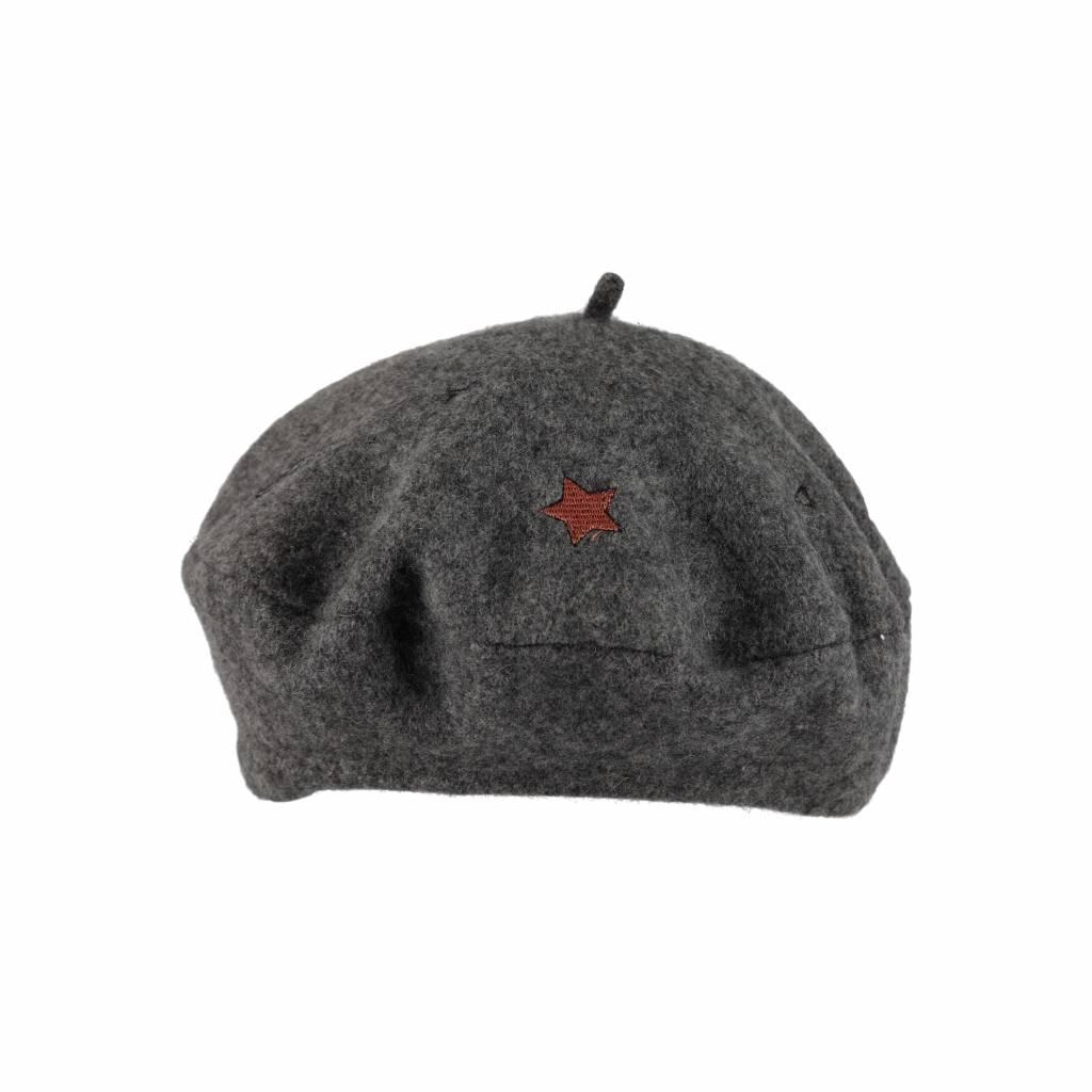 Funky embroidery beret grey melange