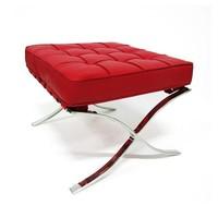 Barcelona Ottoman Red - Premium Leather