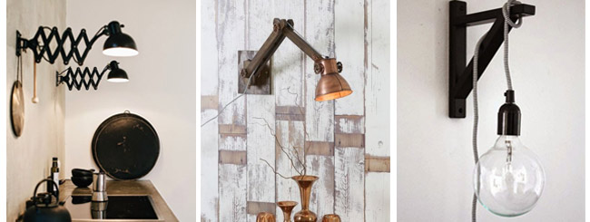 Industrial interior wall lamps